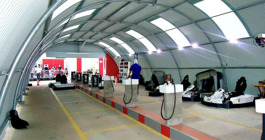 Sports storage steel hall interior go-kart station